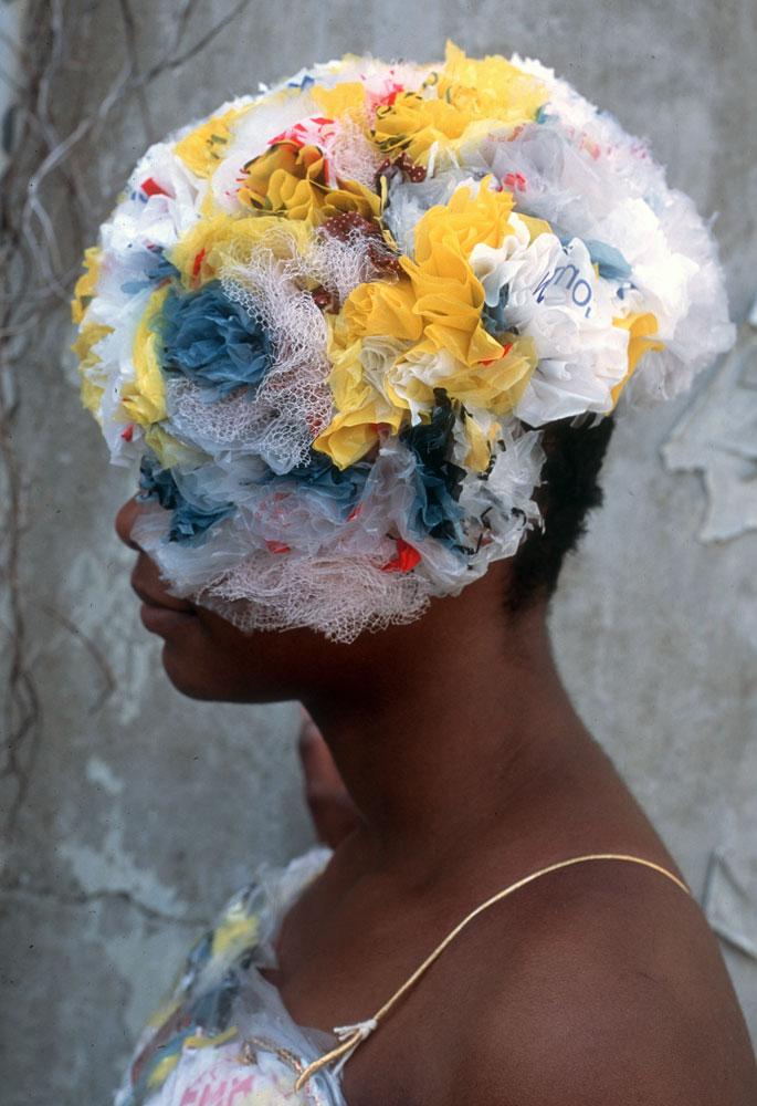 plastic bag headdress