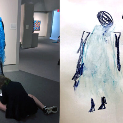Child sketching in museum plus child's photo